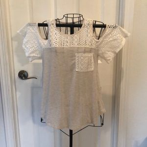 Cream cold shoulder tee